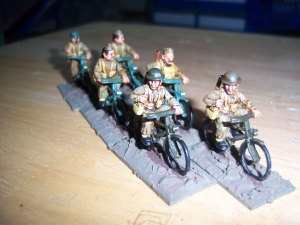 Group of homeguard on patrol. I just love rhese figures. Have about 40 on bikes. Foundry